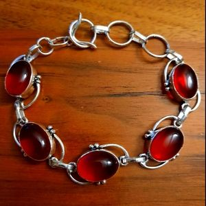 Faux red onyx silver plated bracelet woman jewelry